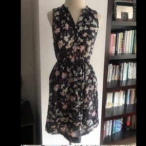 Rebecca Taylor Sleeveless Floral Silk Dress sz 0